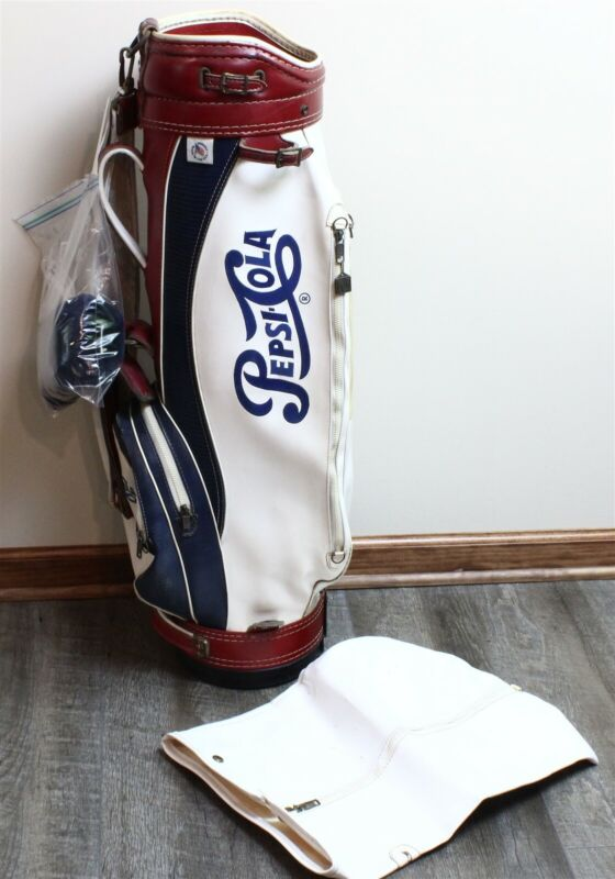 Vintage Red & White & Blue PEPSI-COLA Leather Golf Bag w/Cover & Club Headcover