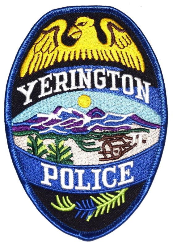 YERINGTON NEVADA NV Police Patch DESERT CABIN MOUNTAINS SUN ~