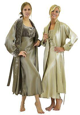 - 100% Silk Charmeuse Long Robe - Silk Velvet Shawl Collar - Fully lined with Silk