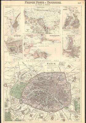 1874 ca LARGE ANTIQUE MAP- BARTHOLOMEW -PLAN OF PARIS, MARSEILLES,BREST,TOULON