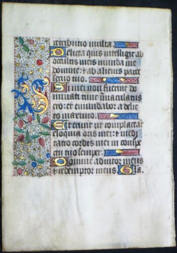 Illuminated medieval BoH leaf,colorful gold initials&borders,ca.1475. #N3