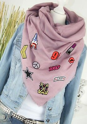 TUCH XXL SCHAL mit PATCHES Fashion Sticker Schal Tuch ROSÉ PUDER SCARF NEU H/M-6
