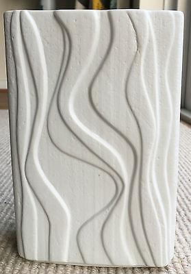 Vintage Heinrich OP ART White Bisque Matt Porcelain Oblong Vase Germany Retro