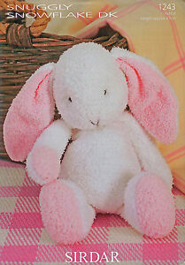 Sirdar Knitting Pattern 1243 Flopsy The Bunny Rabbit Toy in Snuggly Snowflake DK