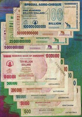 500 - 100 Billion Zimbabwe Dollars Banknote Set of 10 Bearer-Cheque Currency Lot