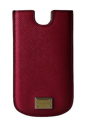 NEW DOLCE & GABBANA Phone Case Cover Pink Leather Gold Logo 13x7,5 cm