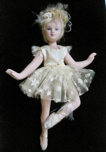 "Porcelain Ballerina Doll 8"" Blond Curly Hair Blue Eyes Jointed Ballerina Doll"