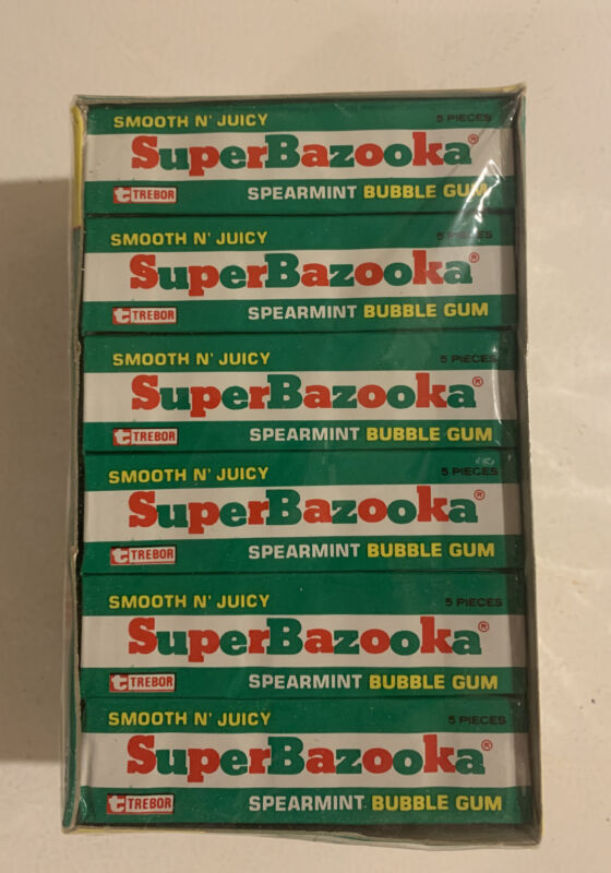 Vintage 1970s Super Bazooka Spearmint Bubble Gum UK NOS Unopened Sealed 24 Case