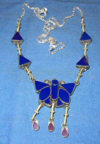 "Necklace Butterfly Pendant Gemstone Afghan Kuchi Tribal Alpaca Silver 24"" 1 1/2"""
