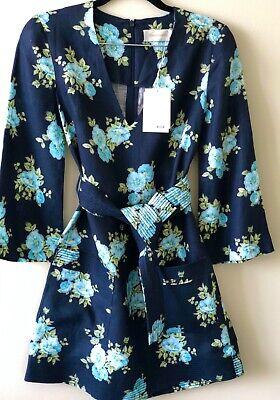 Authentic Zimmermann black linen blue floral dress 0
