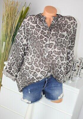 ITALY MODA Bluse LEO Colour Tunika LEO Hemd Langarm Shirt TAUPE M...