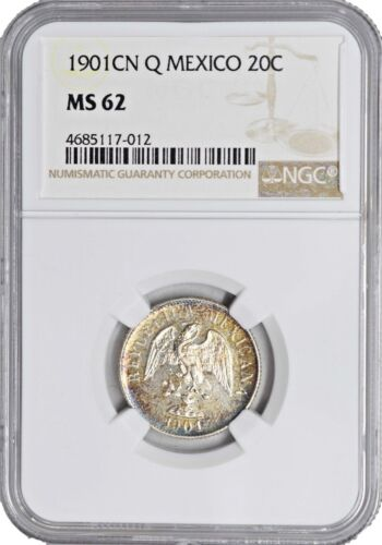 1901 CN Q MS62 Mexico Silver 20 Centavos NGC UNC KM# 405 Nice Toning & Luster!