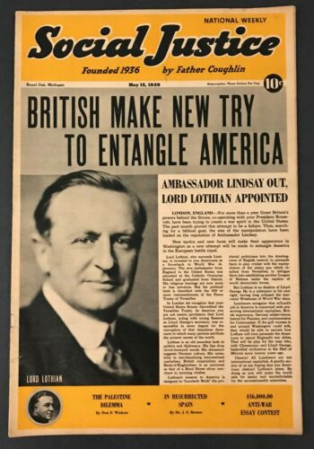 Social Justice Father Coughlin Magazine Weekly Review May 15th 1939