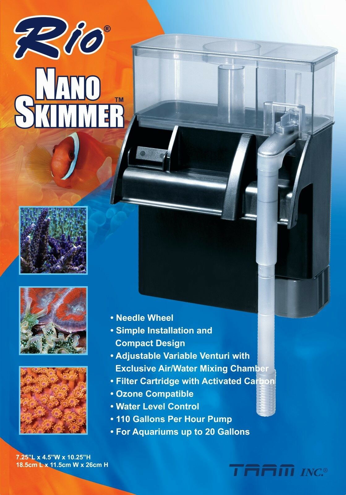 Rio MINI NANO HANG ON BACK PROTEIN SKIMMER up to 20 Gal AQUA