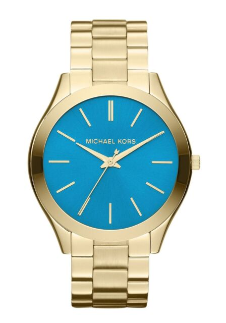 Michael Kors Ladies' Runway Slim Blue Face Gold Tone Designer Watch MK3265