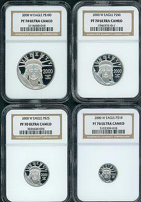 Platinum Ngc Coin Set - 2000-W PROOF PLATINUM EAGLE STATUE LIBERTY NGC PR70 PF70 4COIN SET $100 50 25 10