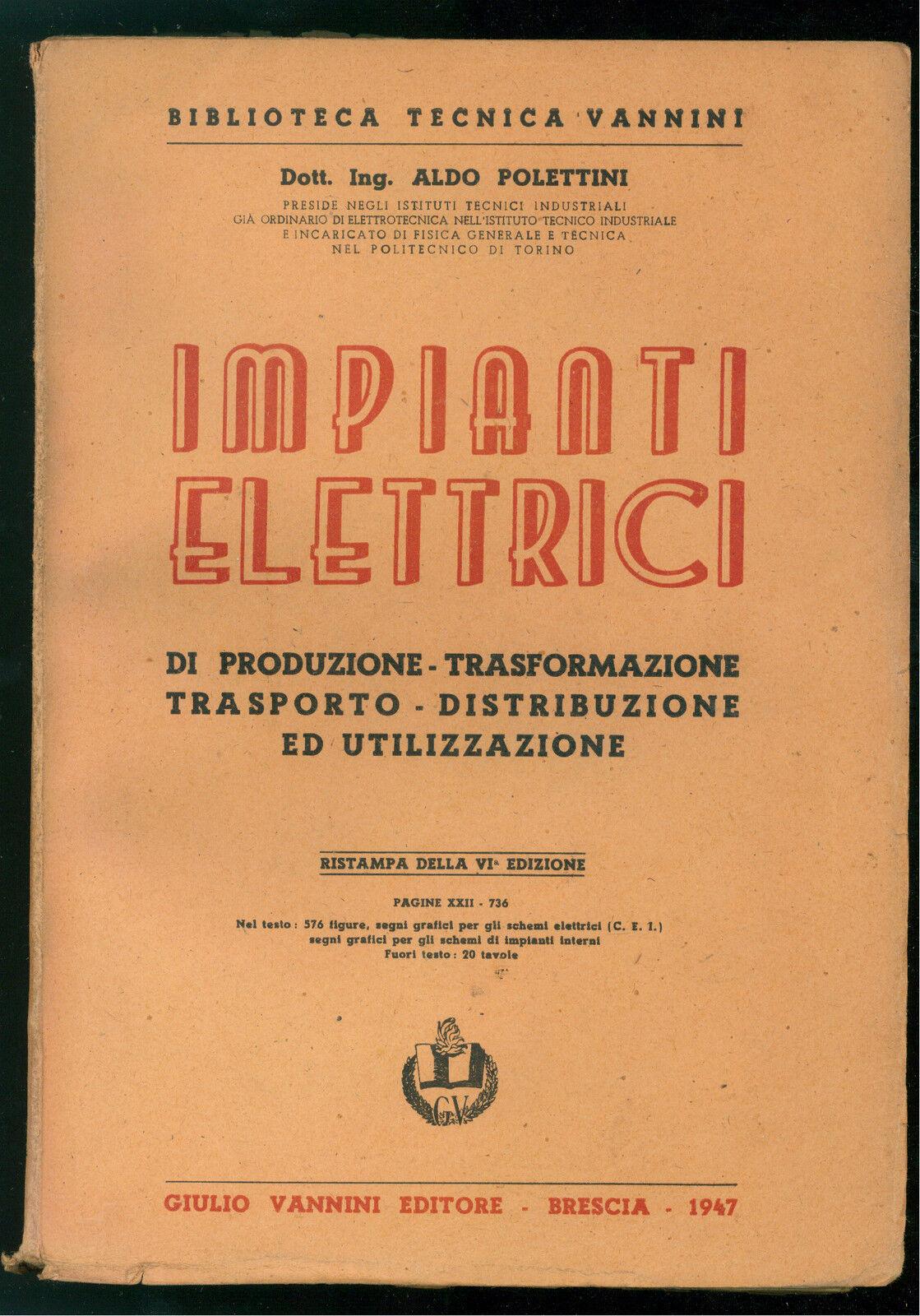 Schemi Elettrici Per Impianti Industriali : Polettini aldo impianti elettrici vannini biblioteca tecnica
