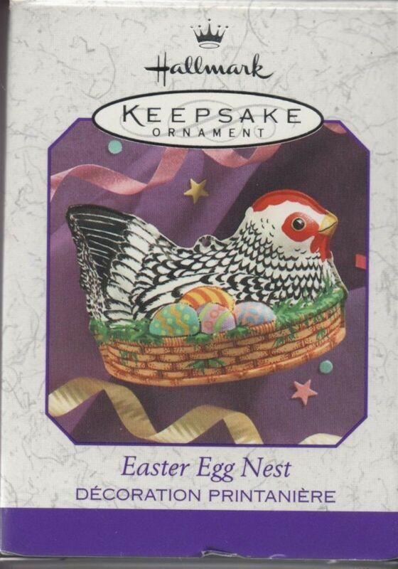Hallmark Christmas Ornament Easter Egg Nest Chicken Tin 1999 Brand New!