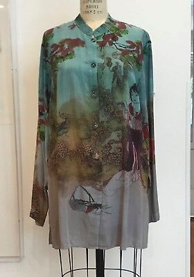 Citron Santa Monica Chinese Princess and Landscape Modal Blouse Top Size S