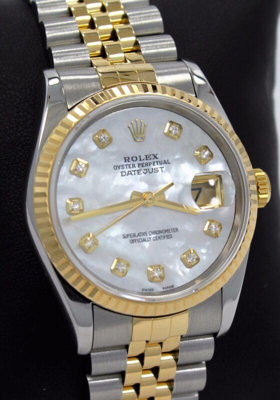 Rolex Datejust 16233 Jubilee 18K Yellow Gold & SS MOP Diamond Dial Watch *MINT*