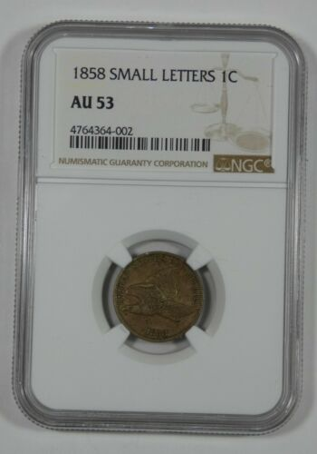 1858 Flying Eagle Small Cent SMALL Letters CERTIFIED NGC AU 53 1-Cent