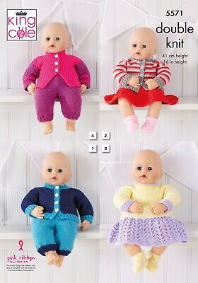 """16"""" BABY DOLLS CLOTHES KNITTING PATTERN BRAND NEW FROM KING COLE 5571"""
