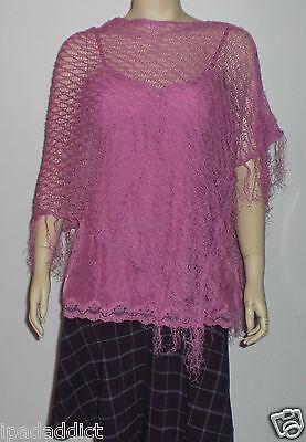 Bebe $69 Purple One Size Asymmetrical Knit Poncho Shawl Wrap Cover Up Fringe
