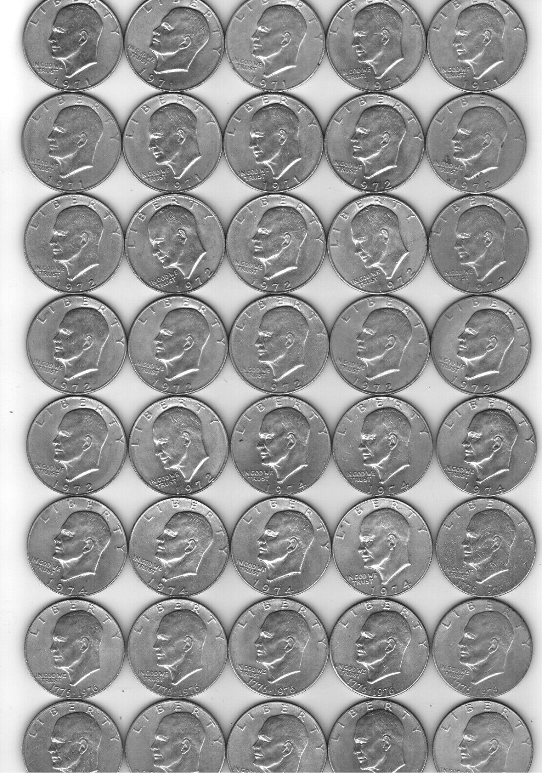 Lot Of 40 1971-1976 IKE Eisenhower Dollars NOT SILVER Fine To XF COND - $87.00