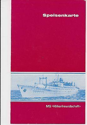 DDR Flotte MS Völkerfreundschaft Speisenkarte 1977 ? Speisekarte
