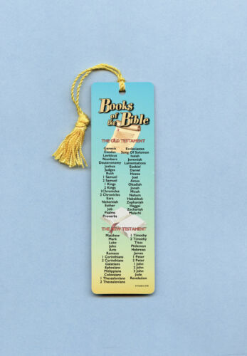 """Books Of The Bible""  Scripture Guide on a Tassel Bookmark (gold)-Sku# 638"