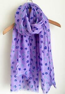 CUTE LADIES PURPLE LILAC DITSY BLOSSOM FLOWER FLORAL OVERSIZED PRINT SCARF WRAP