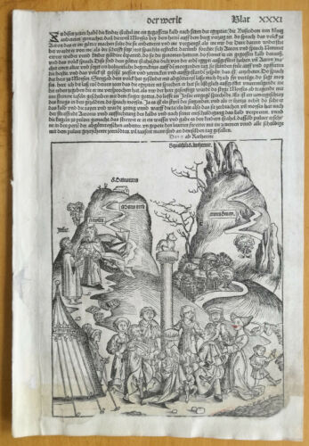 Incunable Leaf Schedel Liber Chronicorum Woodcut Moses Golden Calf Mt Sinai 1493