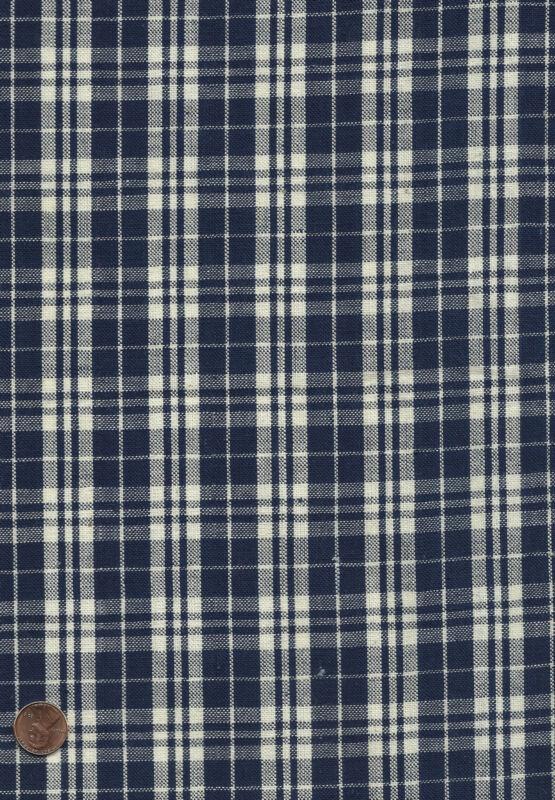 Antique 1890 Navy Blue & White Checks Woven Fabric