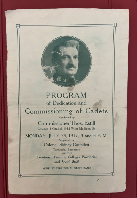 Antique Program SALVATION ARMY COMMISSIONING OF CADETS Chicago July 1917