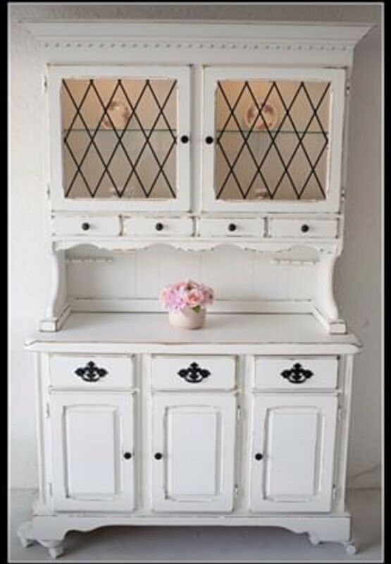 Farmhouse Shabby Chic White Hutch