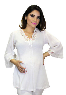 White Maternity Beach Wear Work Attire Pregnancy Lace Hippie Blouse Top Peasent (Peasent Clothing)