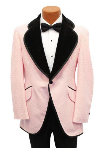 Boys Size 16 Vintage Pink w/ Black Velvet Tuxedo Coat Cutaway 1970 Costume 70s