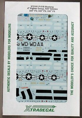1/72 Xtradecal Decals X72101 P-51B MUSTANG 4th Fighter Group RAF Debden  MIP