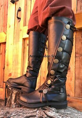 Black Medieval Knight Renaissance Faire Game of Thrones Costume Mens Boots New - Renaissance Faire Costumes Men