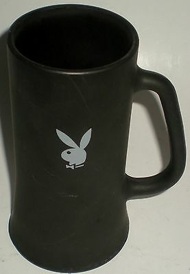 BEER DRINKING GLASS MUG STINE BLACK FROSTED WHITE PLAYBOY BUNNY TALL