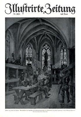 Bayerisches Leib Infanterieregiment XL Kunstdruck 1917 Leiber in Kirche Chaumont