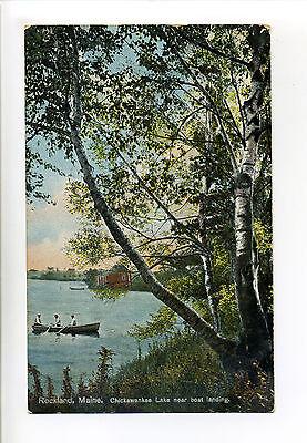 Rockland ME Maine, Chickawankee Lake near boat landing, people, canoe, 1910