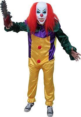 Halloween Pranks Clown (Killer Prank Clown Pennywise Halloween Adult Costume And Mask Set)