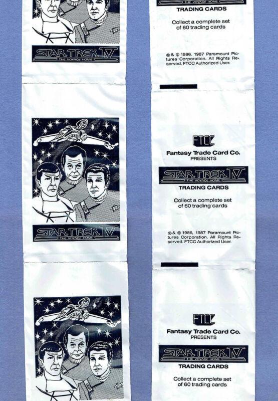 1987 FTCC Star Trek IV Mint Unused Strip of Flow-Pak Wrappers, Kirk Spock Bones