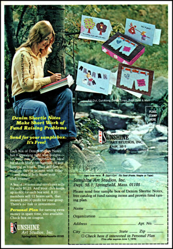 1976 Blonde girl Sunshine Art Studios mountain stream retro photo print ad S9