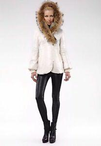 White MACKAGE coat peaches fur/ manteau MACKAGE fourrure VDCMSG