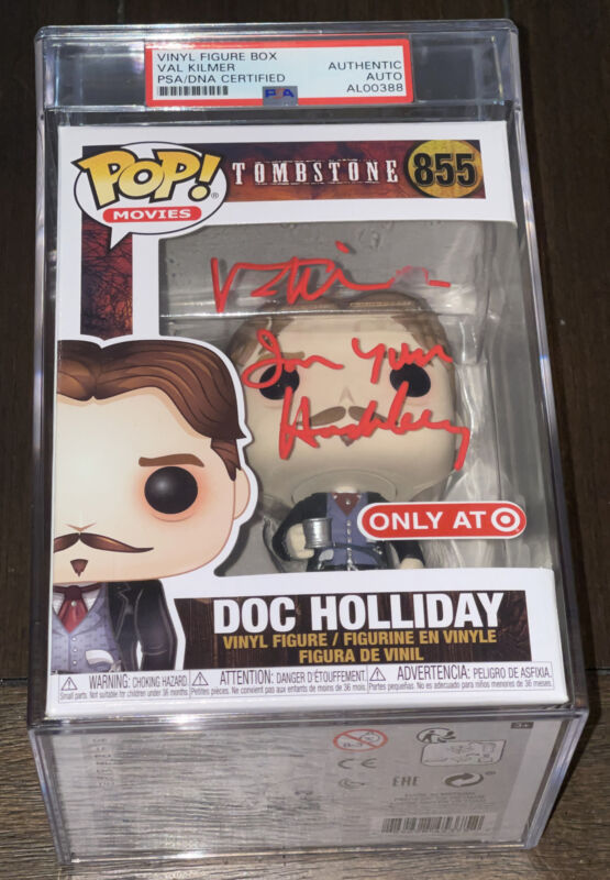 "Val Kilmer Signed Doc Funko Pop Tombstone ""Im Your HuckleBerry"" PSA/DNA Encased"