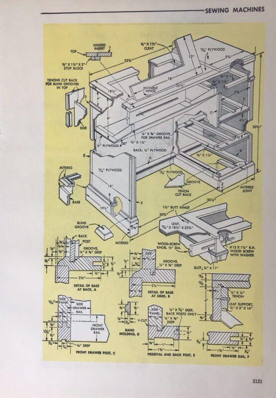 "1961 Popular Mechanics Print Ad- ""Sewing Machines""Illustrated Original Wall Art"
