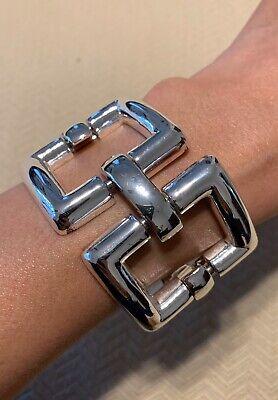 Rare Ralph Lauren RL Silver Tone Thick Bracelet Classic Style