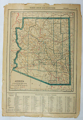 Arizona & Arkansas Original Antique 19c World Atlas Commercial Railroad Map